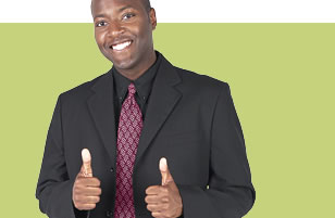 Photo of guy in a suit with thumbs up.